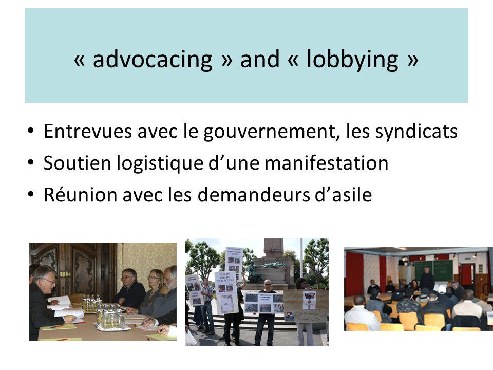 « advocacing » and « lobbying » Entrevues avec le gouvernement, les syndicats Soutien logistique dune manifestation Réunion avec les demandeurs dasile