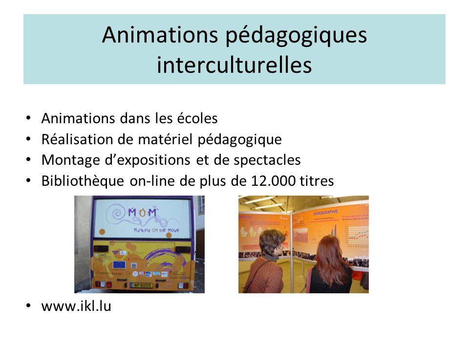 Animations pédagogiques interculturelles Animations dans les écoles Réalisation de matériel pédagogique Montage dexpositions et de spectacles Bibliothèque on-line de plus de 12.000 titres www.ikl.lu