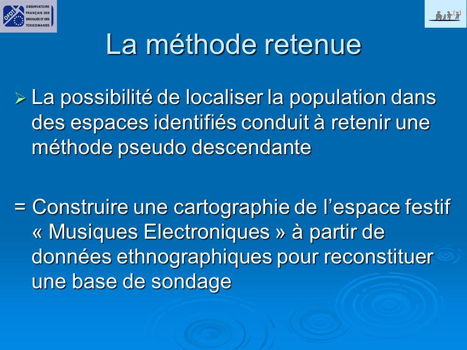 La méthode retenue La possibilité de localiser la population dans des espaces identifiés conduit à retenir une méthode pseudo descendante La possibilité de localiser la population dans des espaces identifiés conduit à retenir une méthode pseudo descendante = Construire une cartographie de lespace festif « Musiques Electroniques » à partir de données ethnographiques pour reconstituer une base de sondage