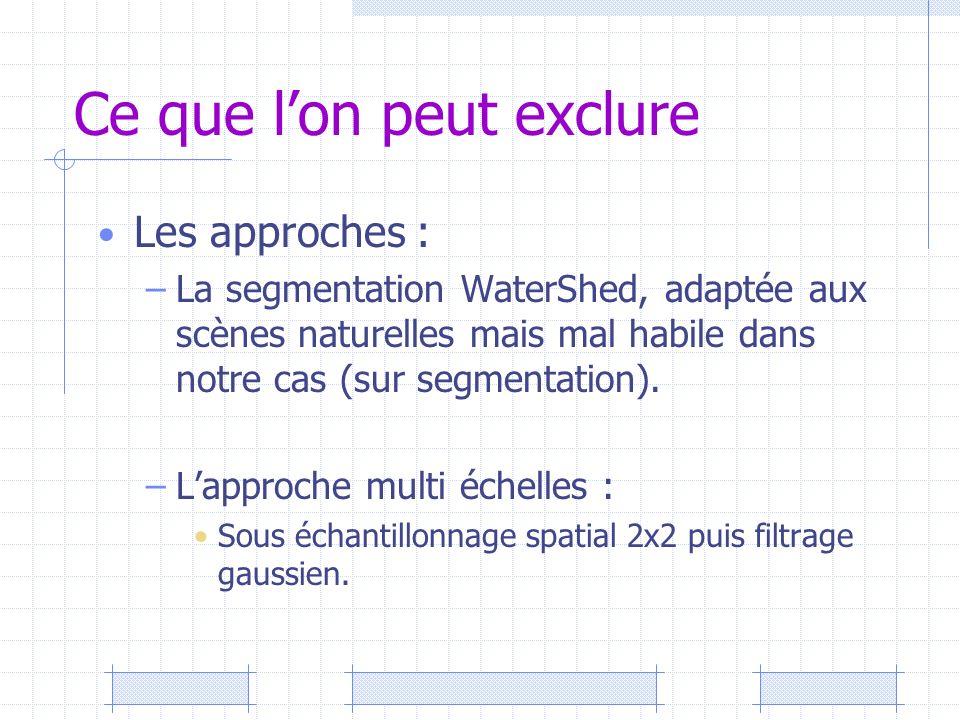 Ce que lon peut exclure Les approches : –La segmentation WaterShed, adaptée aux scènes naturelles mais mal habile dans notre cas (sur segmentation). –