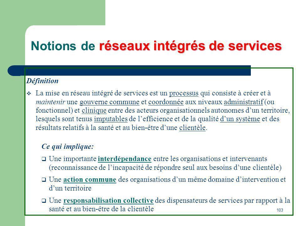 103 réseaux intégrés de services Notions de réseaux intégrés de services Définition La mise en réseau intégré de services est un processus qui consist