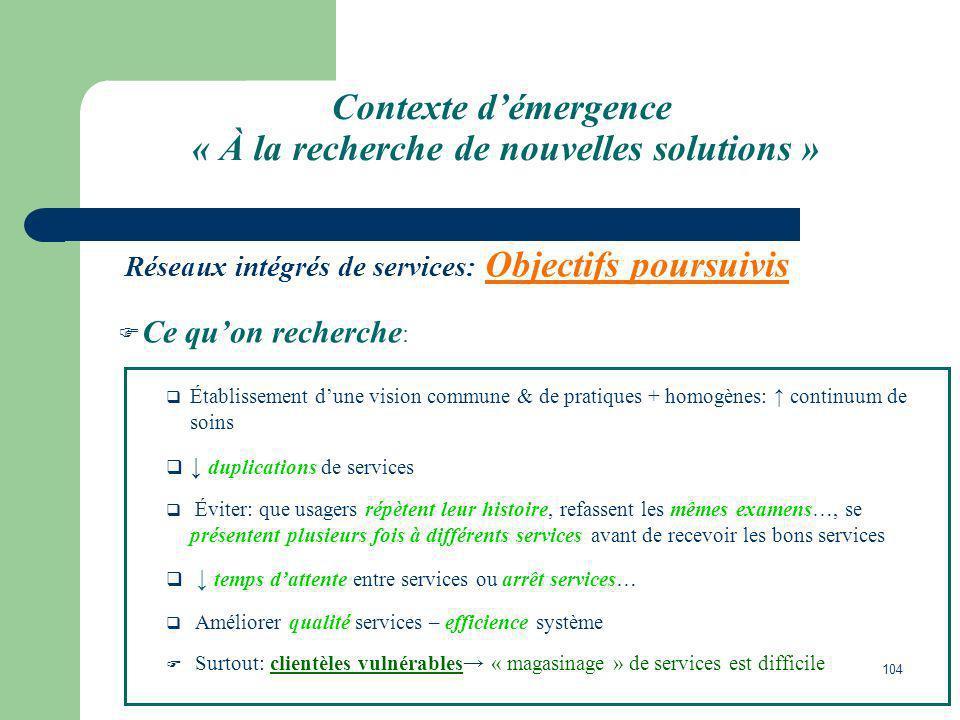 104 Contexte démergence « À la recherche de nouvelles solutions » Réseaux intégrés de services: Objectifs poursuivis Ce quon recherche : Établissement