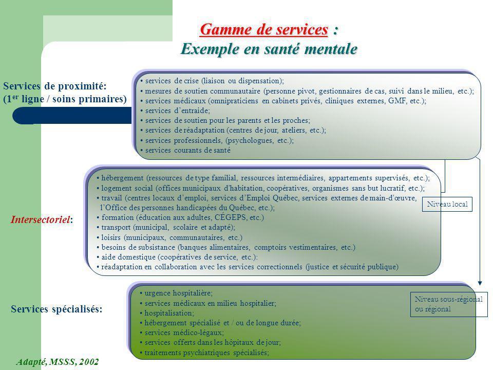 112 Gamme de services : Exemple en santé mentale hébergement (ressources de type familial, ressources intermédiaires, appartements supervisés, etc.);