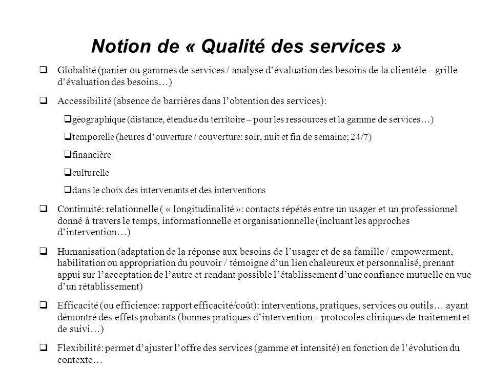 Notion de « Qualité des services » Globalité (panier ou gammes de services / analyse dévaluation des besoins de la clientèle – grille dévaluation des