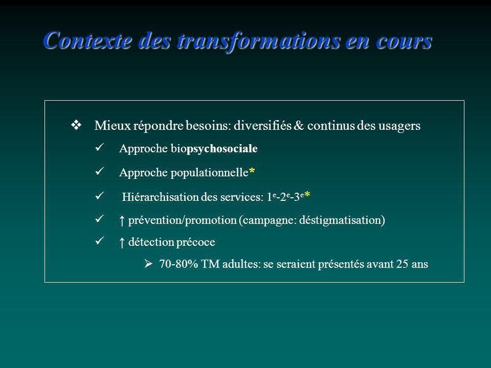 Mieux répondre besoins: diversifiés & continus des usagers Approche biopsychosociale Approche populationnelle * Hiérarchisation des services: 1 e -2 e