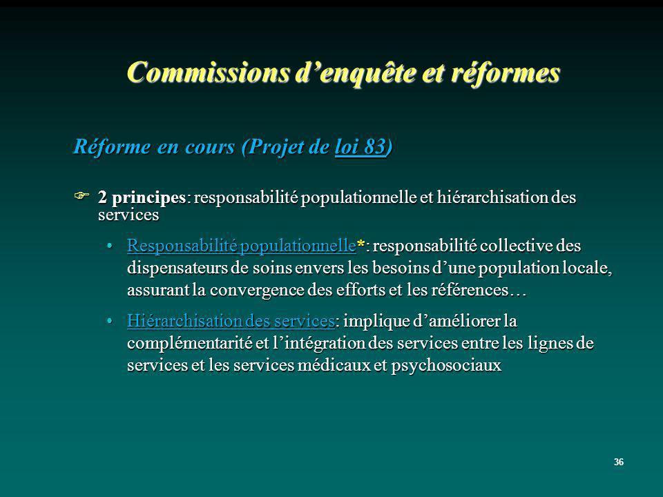 36 Commissions denquête et réformes Réforme en cours (Projet de loi 83) 2 principes: responsabilité populationnelle et hiérarchisation des services 2