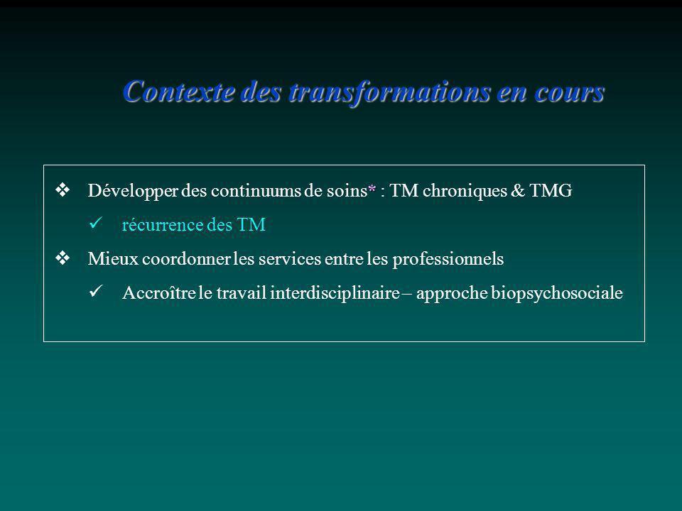 * Développer des continuums de soins* : TM chroniques & TMG récurrence des TM Mieux coordonner les services entre les professionnels Accroître le trav