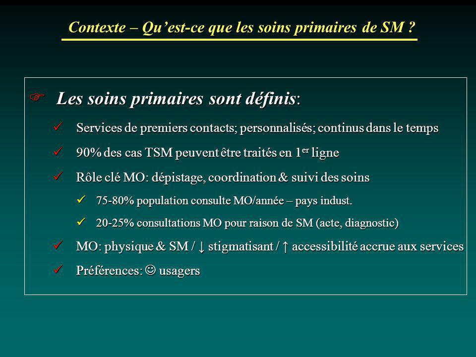 Contexte – Quest-ce que les soins primaires de SM ? Les soins primaires sont définis: Les soins primaires sont définis: Services de premiers contacts;