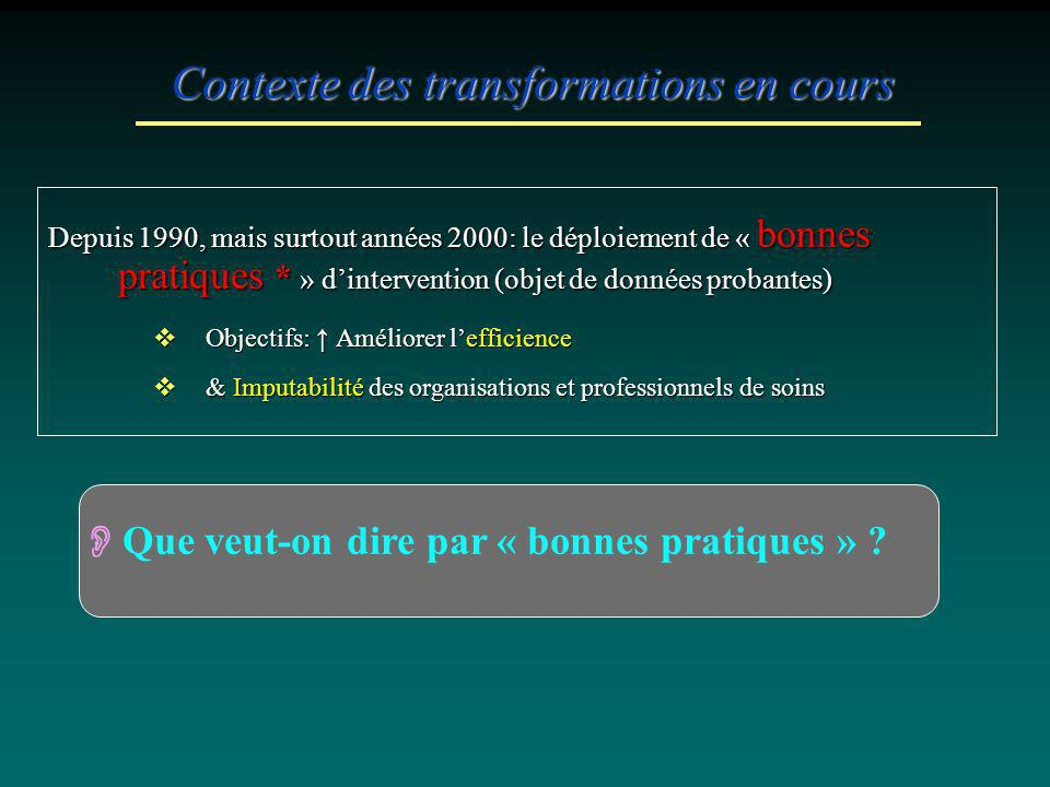 Contexte des transformations en cours Depuis 1990, mais surtout années 2000: le déploiement de « bonnes pratiques * » dintervention (objet de données