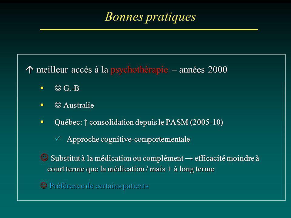 Bonnes pratiques meilleur accès à la psychothérapie – années 2000 meilleur accès à la psychothérapie – années 2000 G.-B G.-B Australie Australie Québe