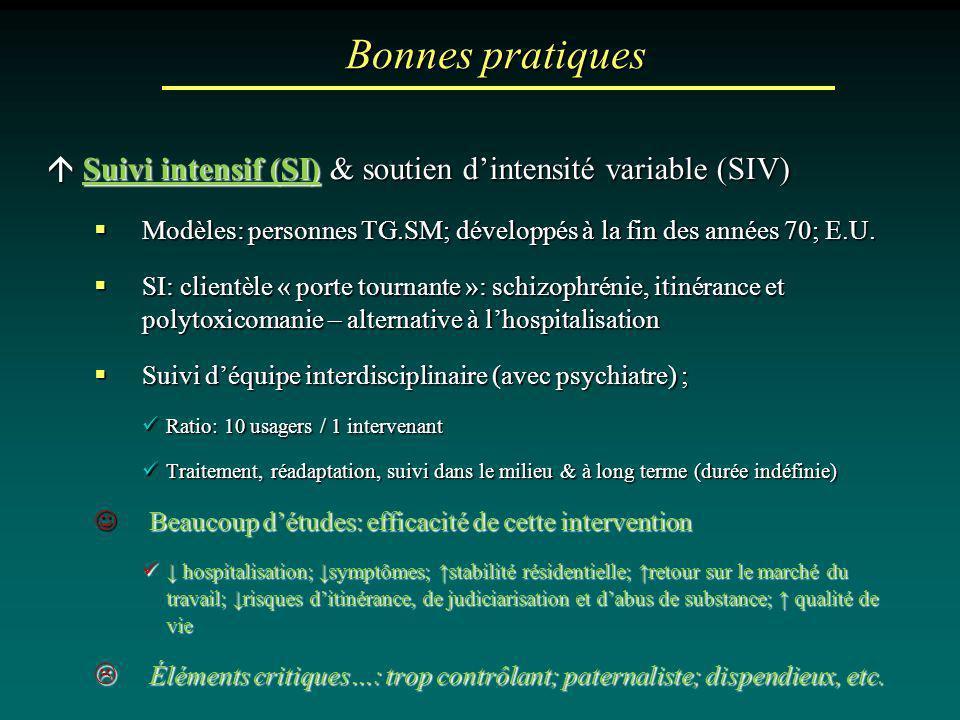 Bonnes pratiques Suivi intensif (SI) & soutien dintensité variable (SIV) Suivi intensif (SI) & soutien dintensité variable (SIV) Modèles: personnes TG
