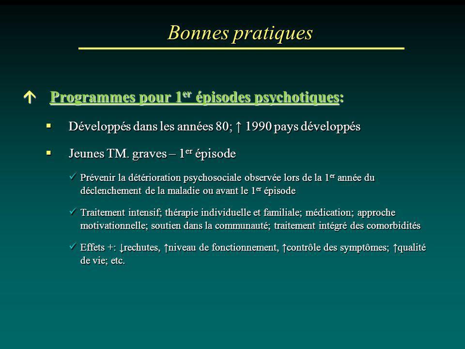 Bonnes pratiques Programmes pour 1 er épisodes psychotiques: Programmes pour 1 er épisodes psychotiques: Développés dans les années 80; 1990 pays déve