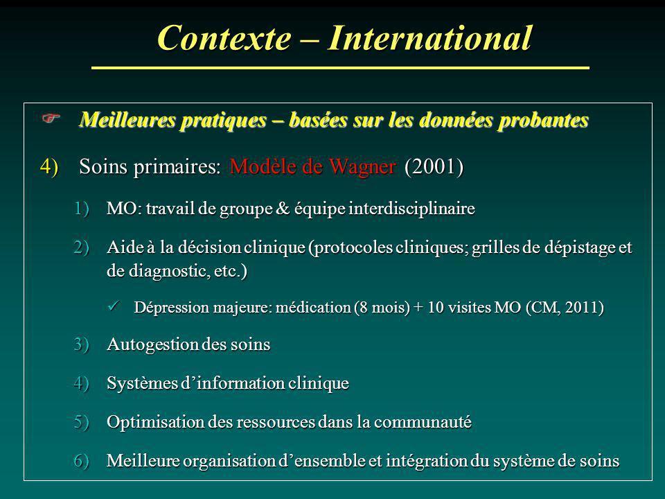 Contexte – International Meilleures pratiques – basées sur les données probantes Meilleures pratiques – basées sur les données probantes 4)Soins prima