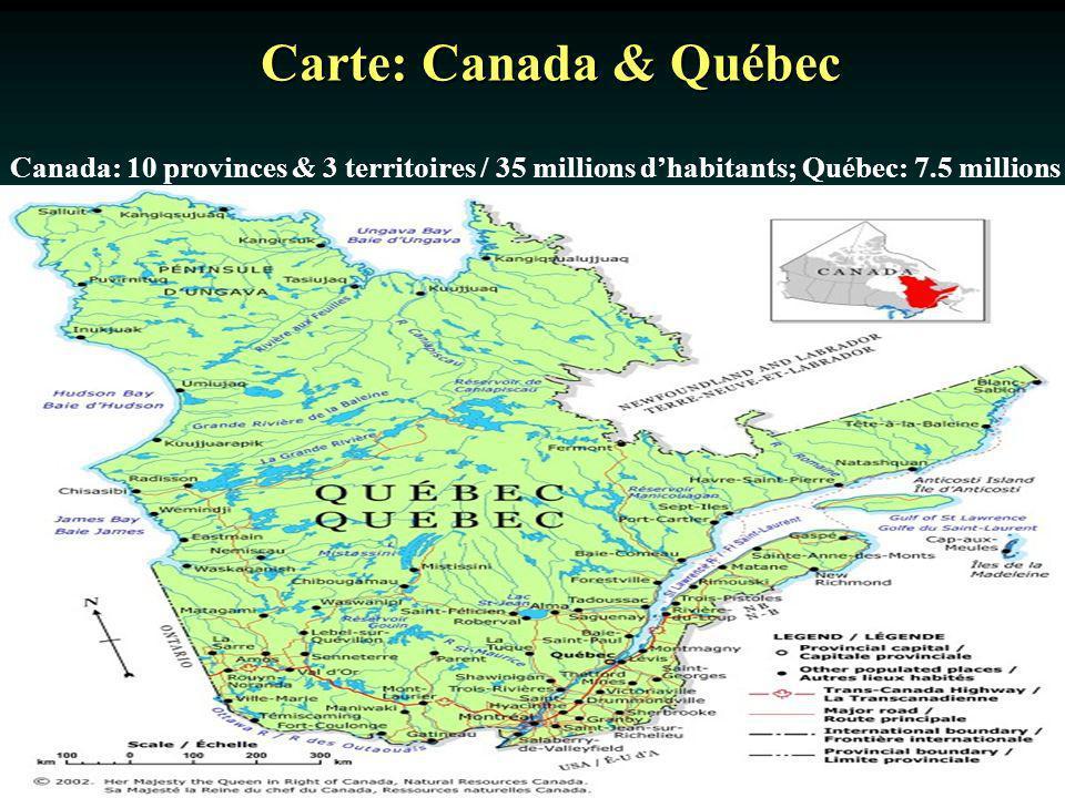 Carte: Canada & Québec Canada: 10 provinces & 3 territoires / 35 millions dhabitants; Québec: 7.5 millions