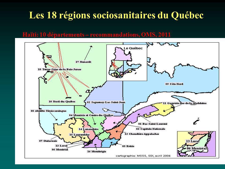 Les 18 régions sociosanitaires du Québec Haïti: 10 départements – recommandations, OMS, 2011