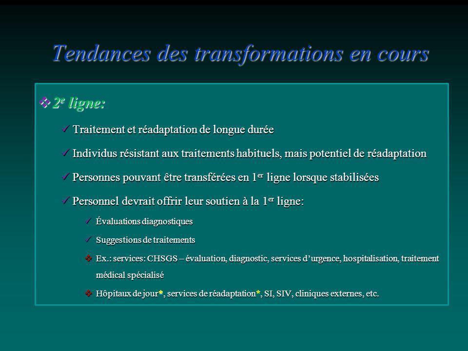 2 e ligne: 2 e ligne: Traitement et réadaptation de longue durée Traitement et réadaptation de longue durée Individus résistant aux traitements habitu