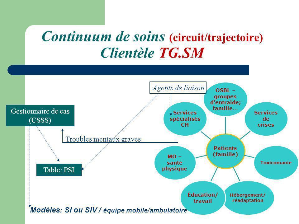 Continuum de soins (circuit/trajectoire) Clientèle TG.SM Patients (famille) OSBL – groupes dentraide; famille… Services de crises Toxicomanie Hébergem