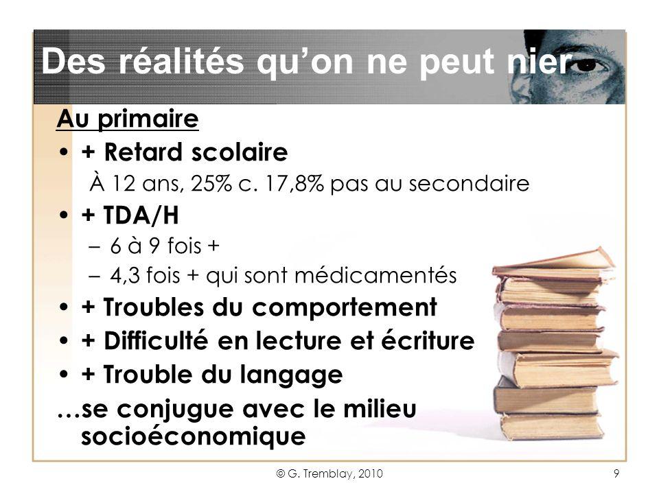 © G.Tremblay, 20109 Au primaire + Retard scolaire À 12 ans, 25% c.
