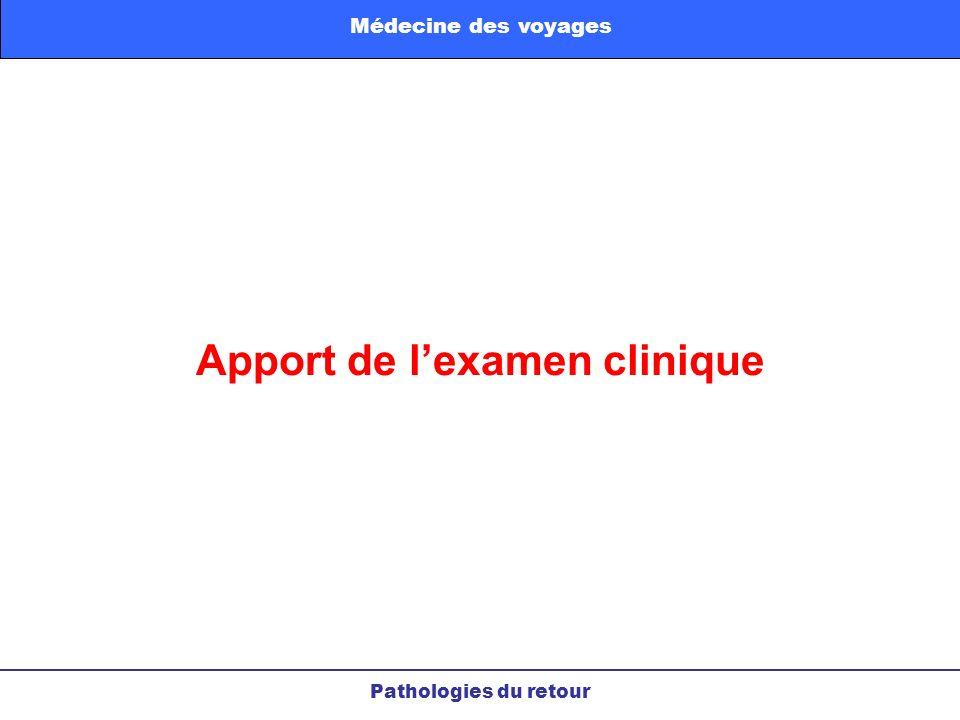 Apport de lexamen clinique Pathologies du retour Médecine des voyages