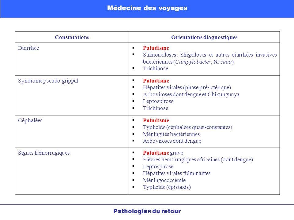 ConstatationsOrientations diagnostiques Diarrhée Paludisme Salmonelloses, Shigelloses et autres diarrhées invasives bactériennes (Campylobacter, Yersi