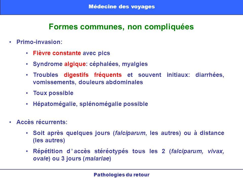 Formes communes, non compliquées Primo-invasion: Fièvre constante avec pics Syndrome algique: céphalées, myalgies Troubles digestifs fréquents et souv
