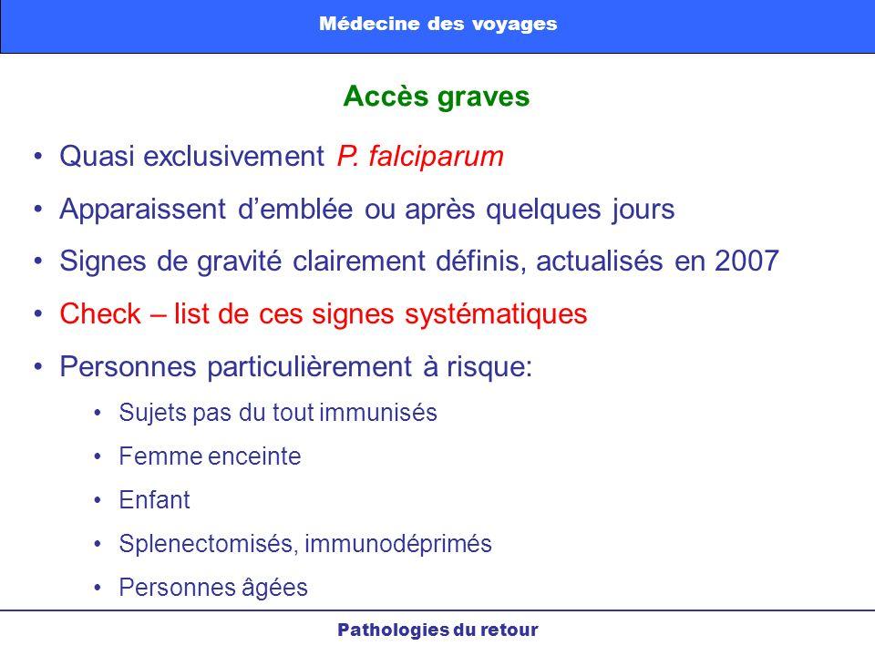 Accès graves Quasi exclusivement P. falciparum Apparaissent demblée ou après quelques jours Signes de gravité clairement définis, actualisés en 2007 C