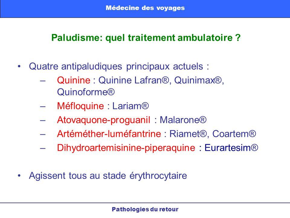 Paludisme: quel traitement ambulatoire ? Pathologies du retour Médecine des voyages Quatre antipaludiques principaux actuels : –Quinine : Quinine Lafr