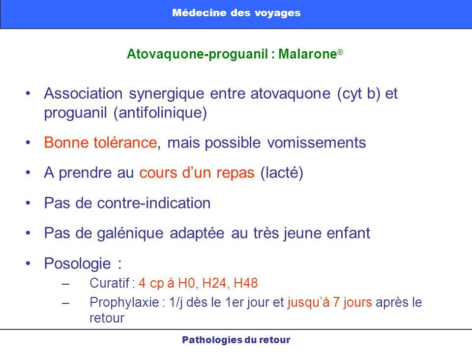 Association synergique entre atovaquone (cyt b) et proguanil (antifolinique) Bonne tolérance, mais possible vomissements A prendre au cours dun repas