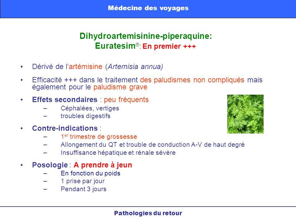 Dérivé de lartémisine (Artemisia annua) Efficacité +++ dans le traitement des paludismes non compliqués mais également pour le paludisme grave Effets