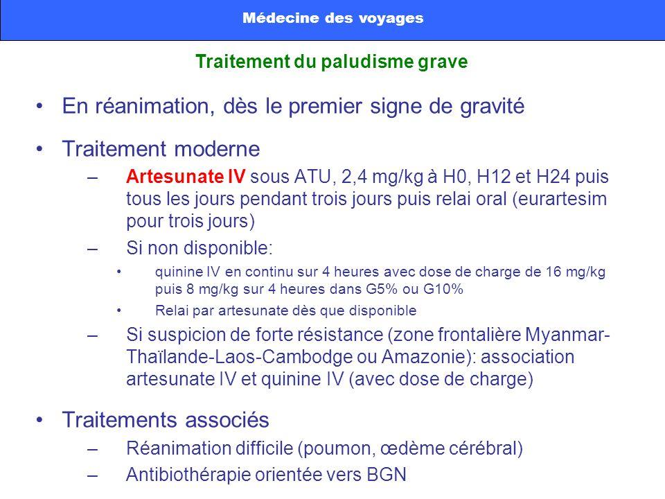En réanimation, dès le premier signe de gravité Traitement moderne –Artesunate IV sous ATU, 2,4 mg/kg à H0, H12 et H24 puis tous les jours pendant tro