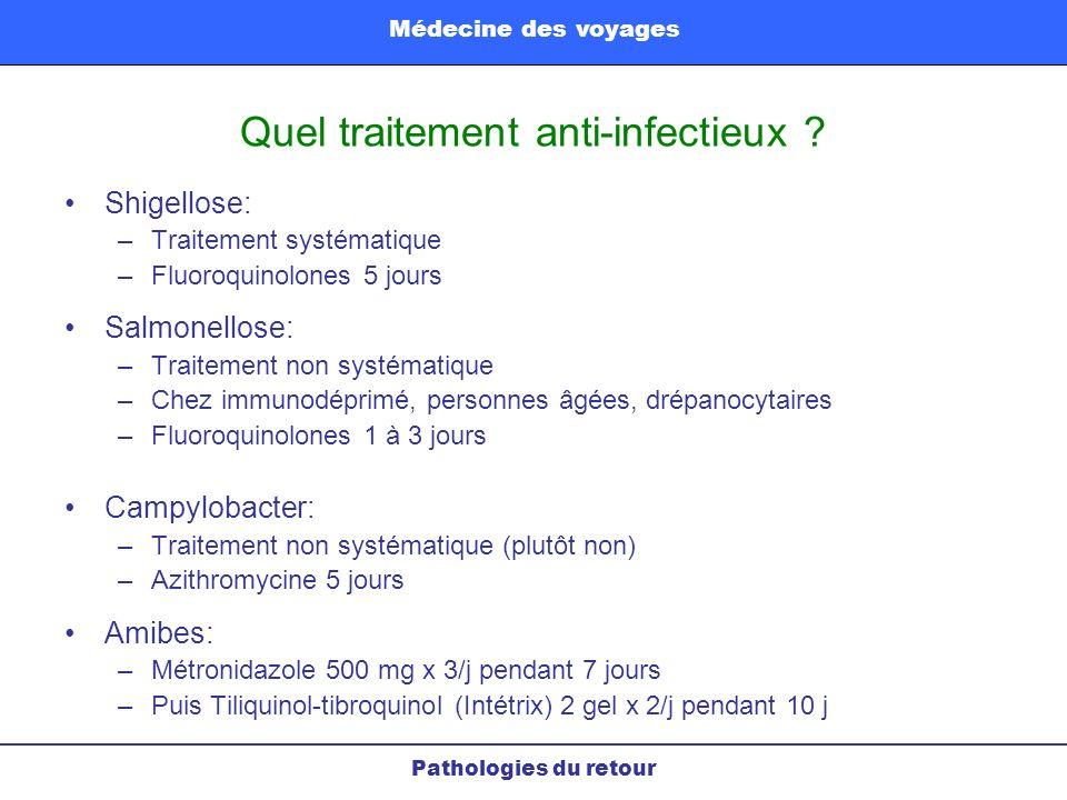 Quel traitement anti-infectieux ? Shigellose: –Traitement systématique –Fluoroquinolones 5 jours Salmonellose: –Traitement non systématique –Chez immu