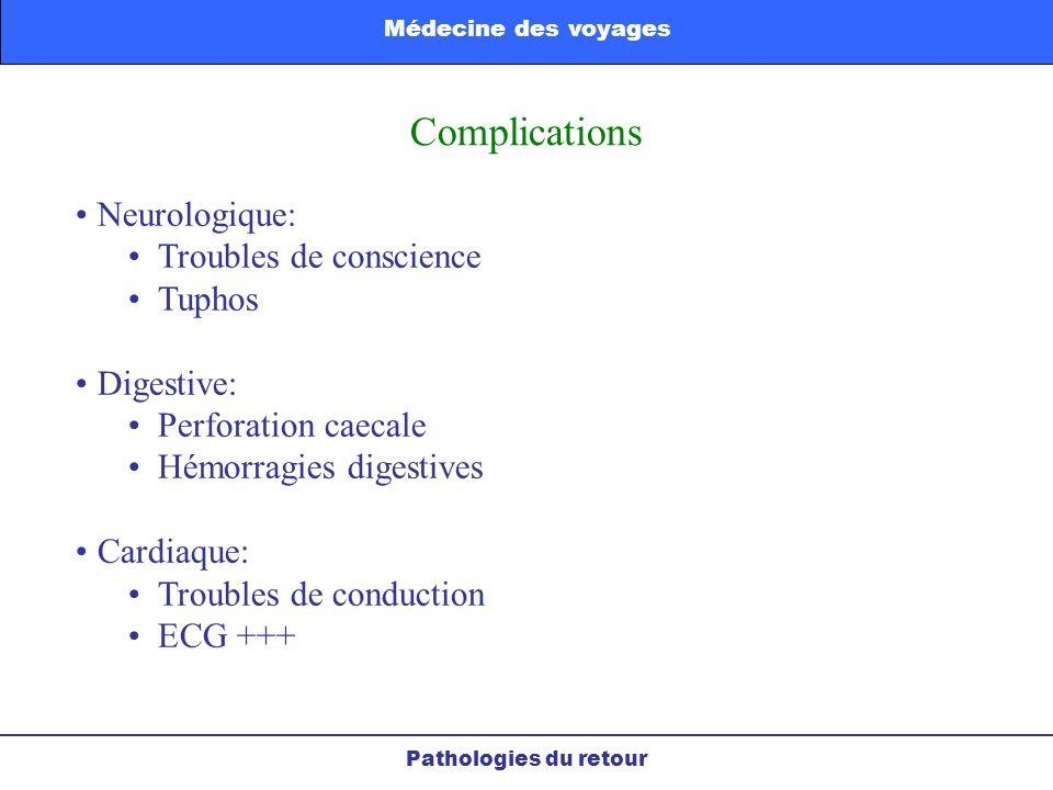 Complications Neurologique: Troubles de conscience Tuphos Digestive: Perforation caecale Hémorragies digestives Cardiaque: Troubles de conduction ECG