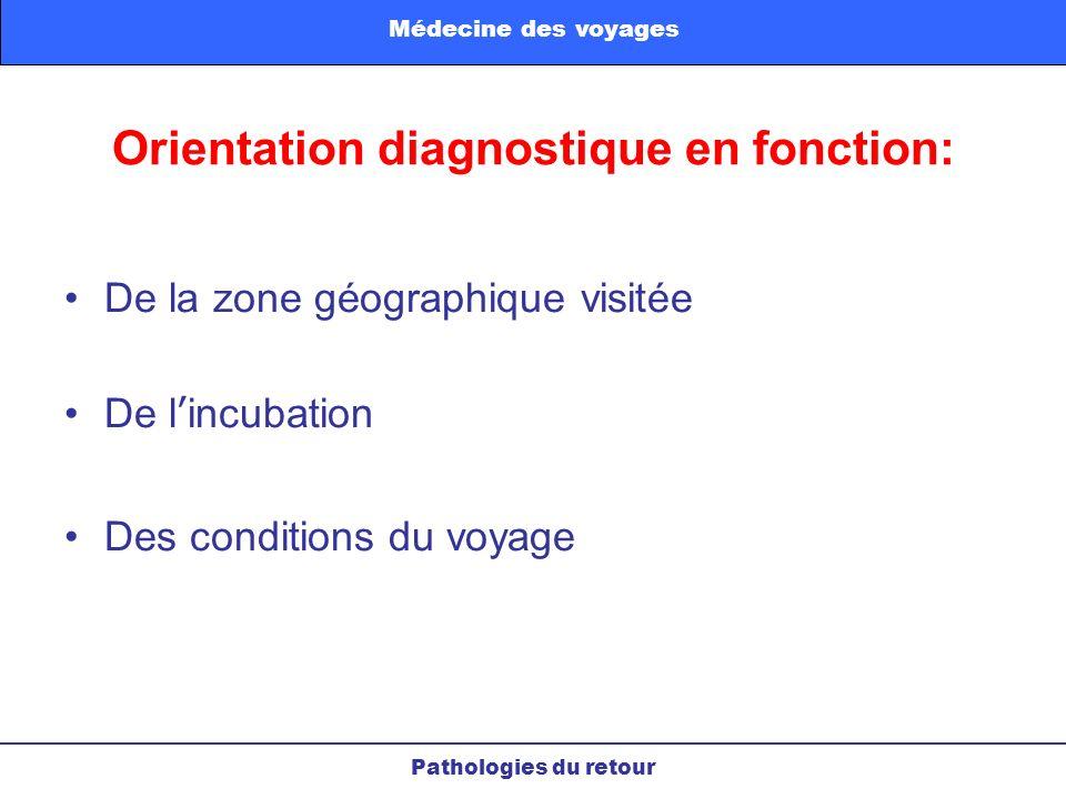 Orientation diagnostique en fonction: De la zone géographique visitée De lincubation Des conditions du voyage Pathologies du retour Médecine des voyag
