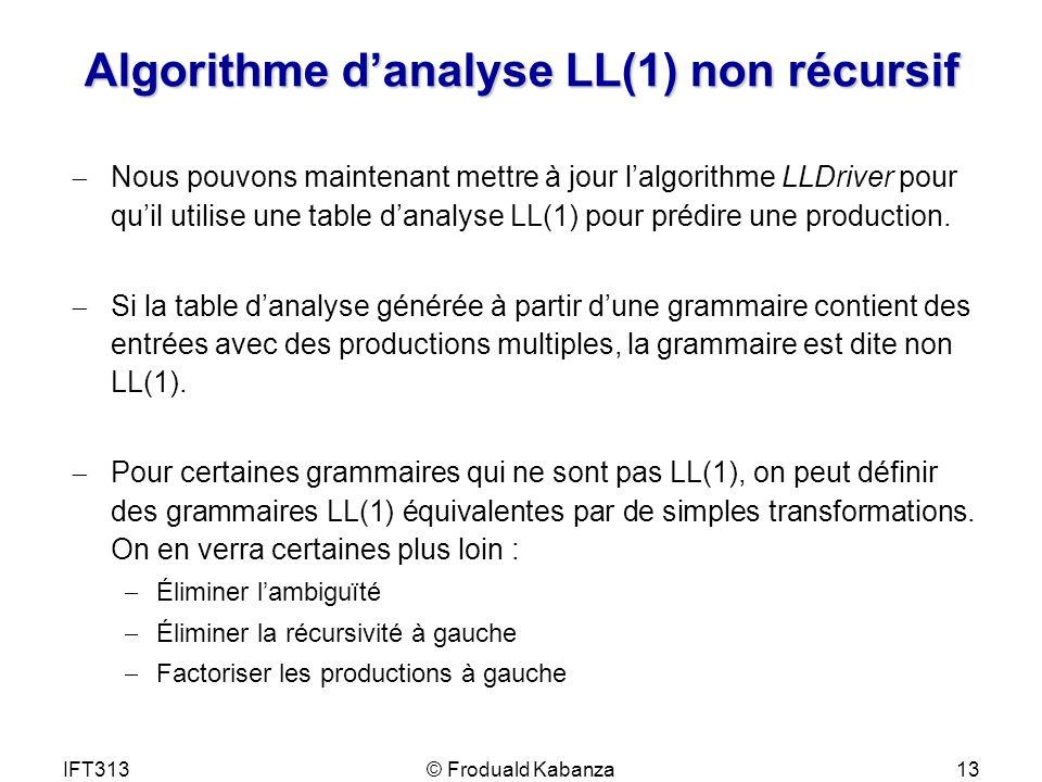 IFT313© Froduald Kabanza13 Algorithme danalyse LL(1) non récursif Nous pouvons maintenant mettre à jour lalgorithme LLDriver pour quil utilise une tab
