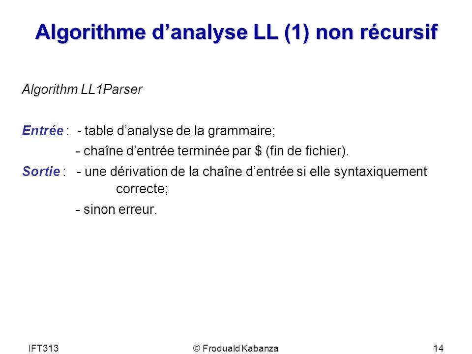 IFT313© Froduald Kabanza14 Algorithme danalyse LL (1) non récursif Algorithm LL1Parser Entrée : - table danalyse de la grammaire; - chaîne dentrée ter