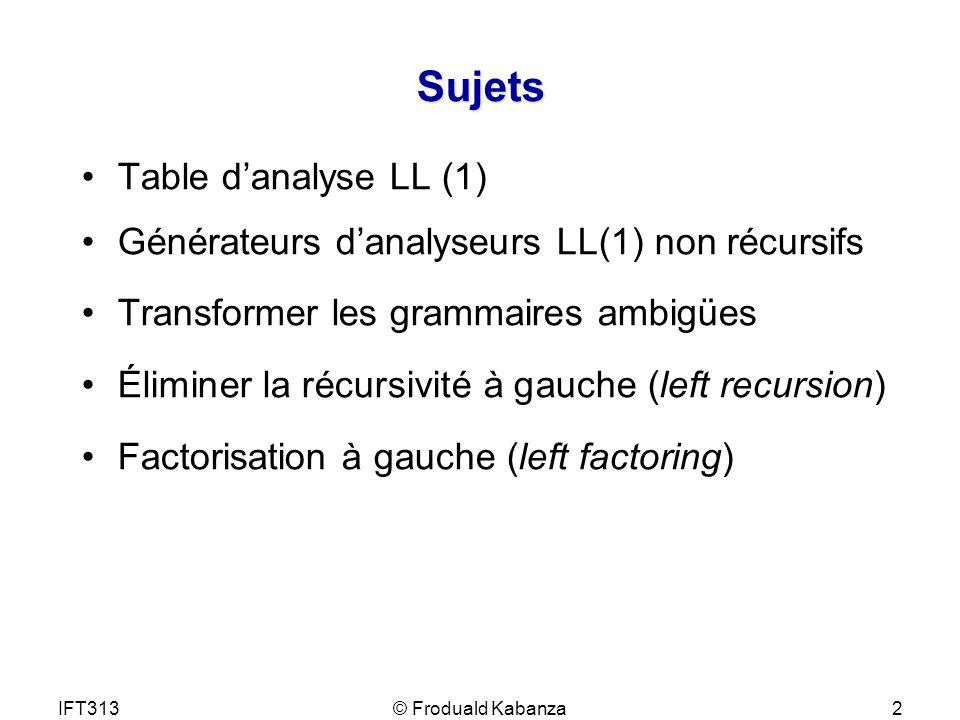 IFT313© Froduald Kabanza2 Sujets Table danalyse LL (1) Générateurs danalyseurs LL(1) non récursifs Transformer les grammaires ambigües Éliminer la réc