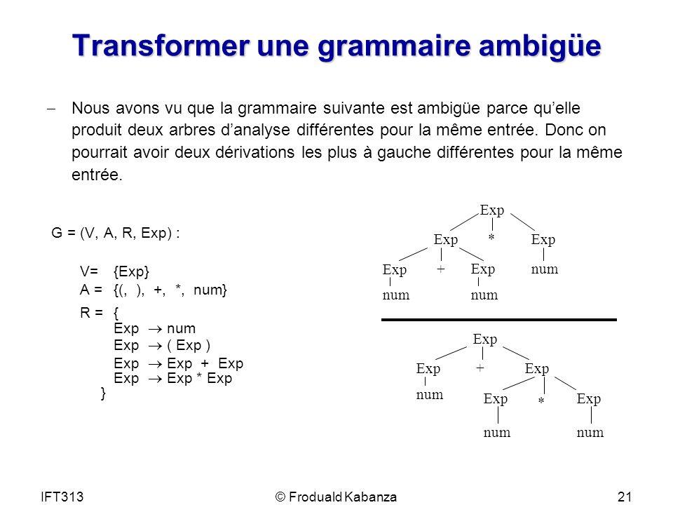 IFT313© Froduald Kabanza21 Transformer une grammaire ambigüe Nous avons vu que la grammaire suivante est ambigüe parce quelle produit deux arbres dana