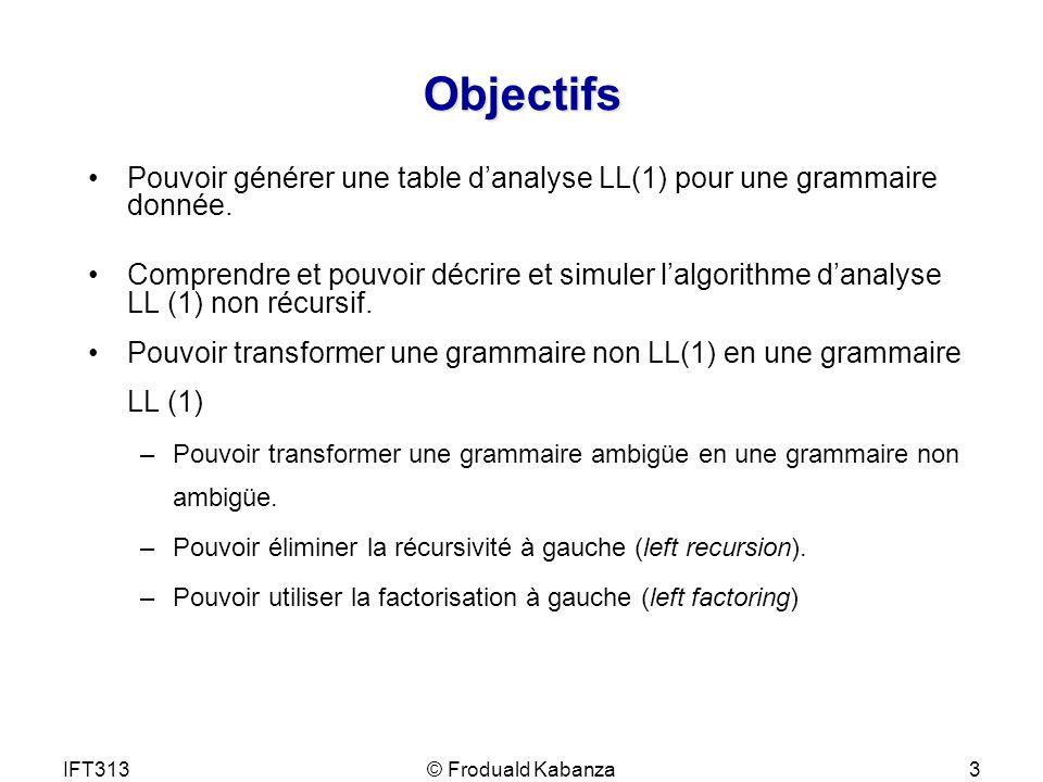 IFT313© Froduald Kabanza3 Objectifs Pouvoir générer une table danalyse LL(1) pour une grammaire donnée. Comprendre et pouvoir décrire et simuler lalgo
