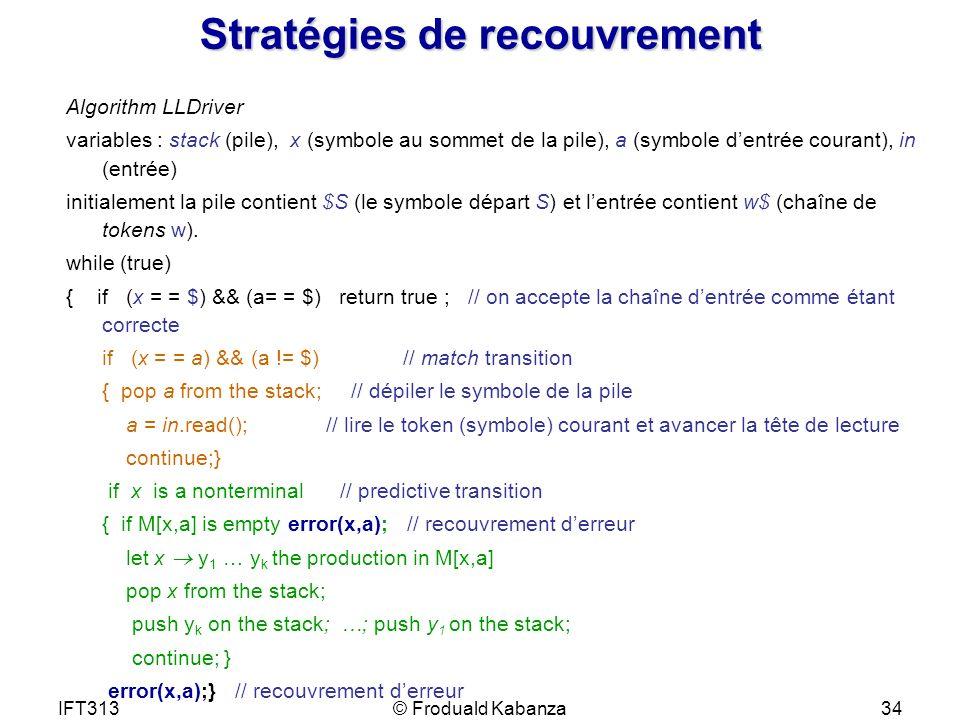 IFT313© Froduald Kabanza34 Stratégies de recouvrement Algorithm LLDriver variables : stack (pile), x (symbole au sommet de la pile), a (symbole dentré