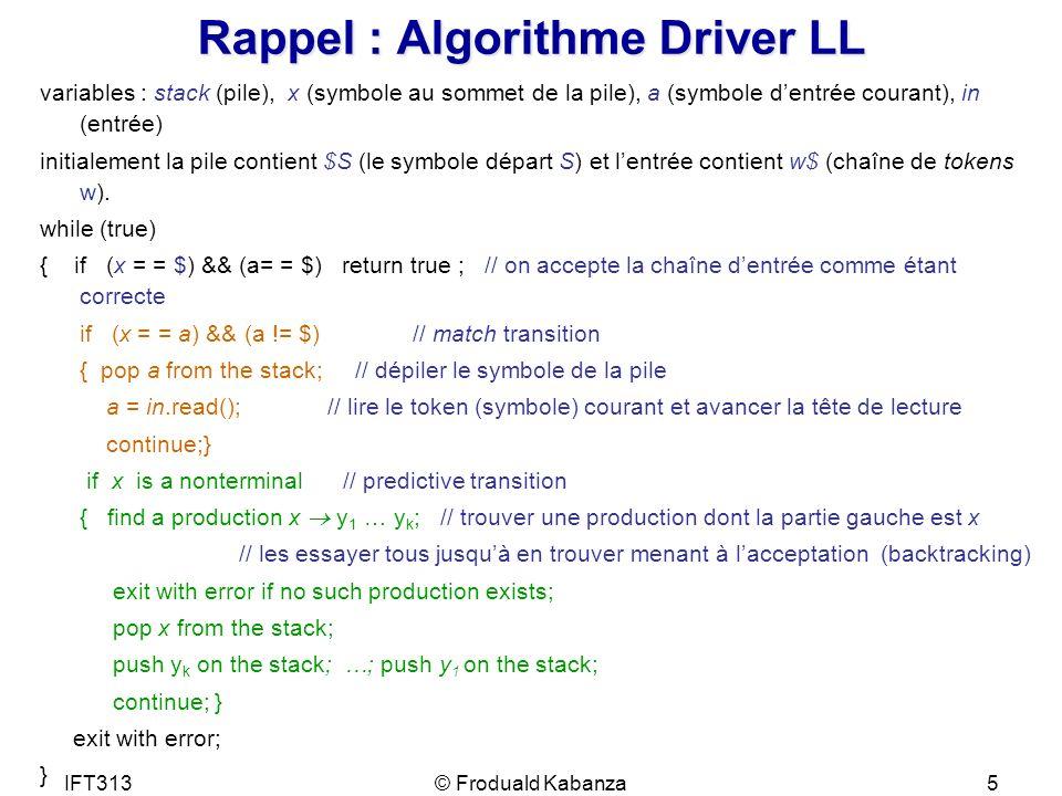 IFT313© Froduald Kabanza5 Rappel : Algorithme Driver LL variables : stack (pile), x (symbole au sommet de la pile), a (symbole dentrée courant), in (e
