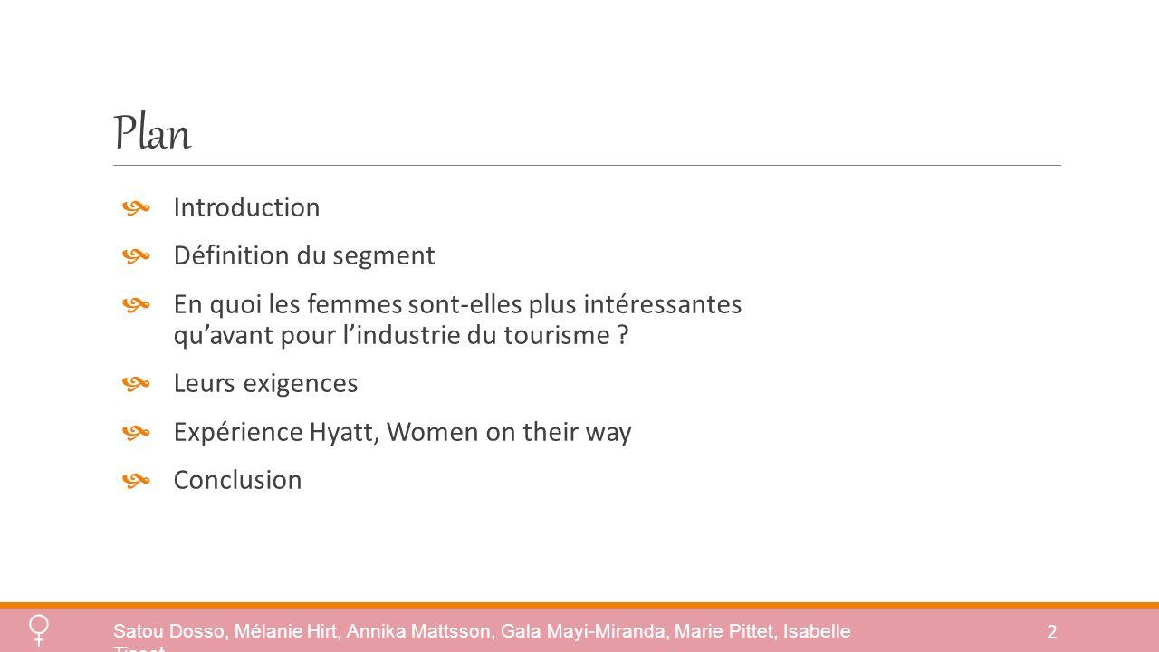 Plan Introduction Définition du segment En quoi les femmes sont-elles plus intéressantes quavant pour lindustrie du tourisme .