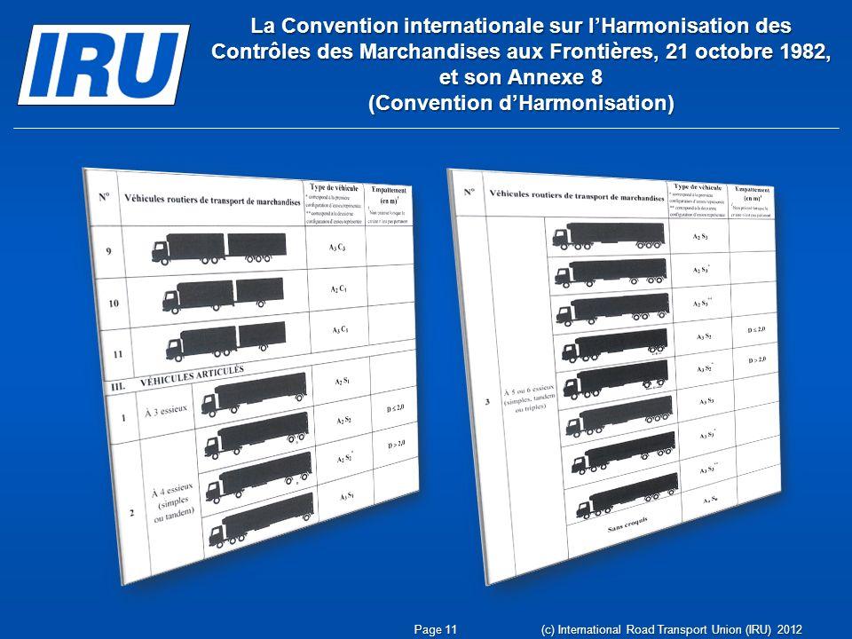 La Convention internationale sur lHarmonisation des Contrôles des Marchandises aux Frontières, 21 octobre 1982, et son Annexe 8 (Convention dHarmonisation) Page 11 (c) International Road Transport Union (IRU) 2012