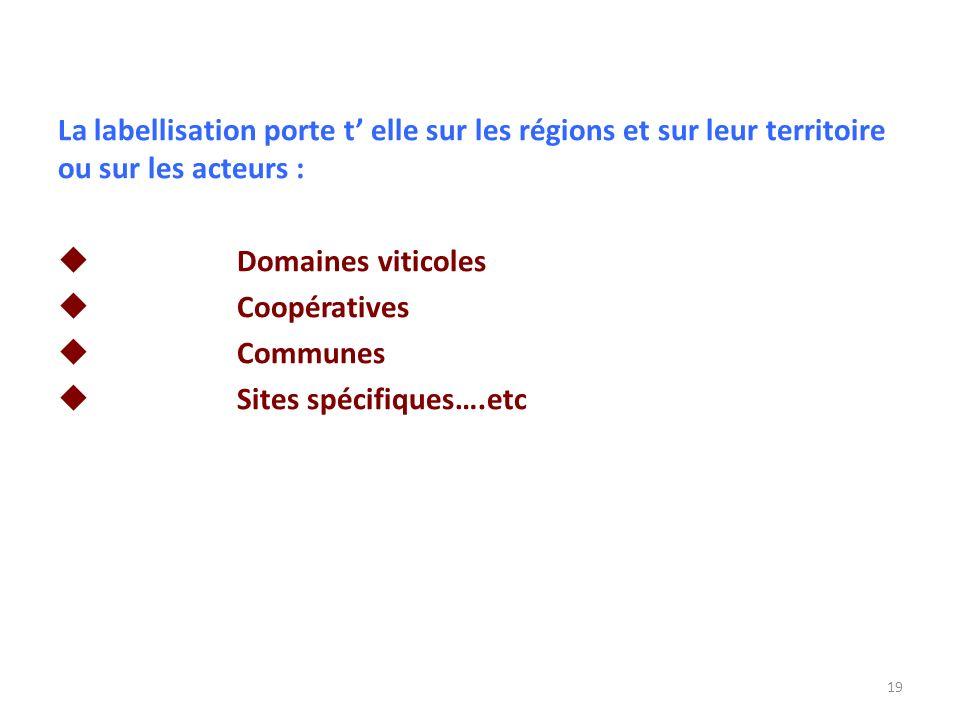 La labellisation porte t elle sur les régions et sur leur territoire ou sur les acteurs : Domaines viticoles Coopératives Communes Sites spécifiques….