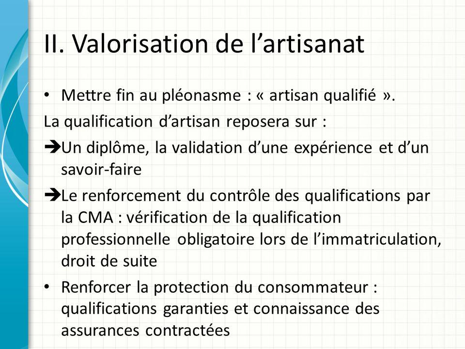 II. Valorisation de lartisanat Mettre fin au pléonasme : « artisan qualifié ». La qualification dartisan reposera sur : Un diplôme, la validation dune
