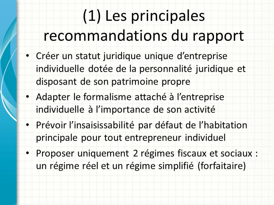 (1) Les principales recommandations du rapport Créer un statut juridique unique dentreprise individuelle dotée de la personnalité juridique et disposa