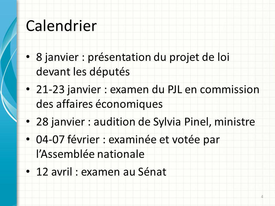 Calendrier 8 janvier : présentation du projet de loi devant les députés 21-23 janvier : examen du PJL en commission des affaires économiques 28 janvie
