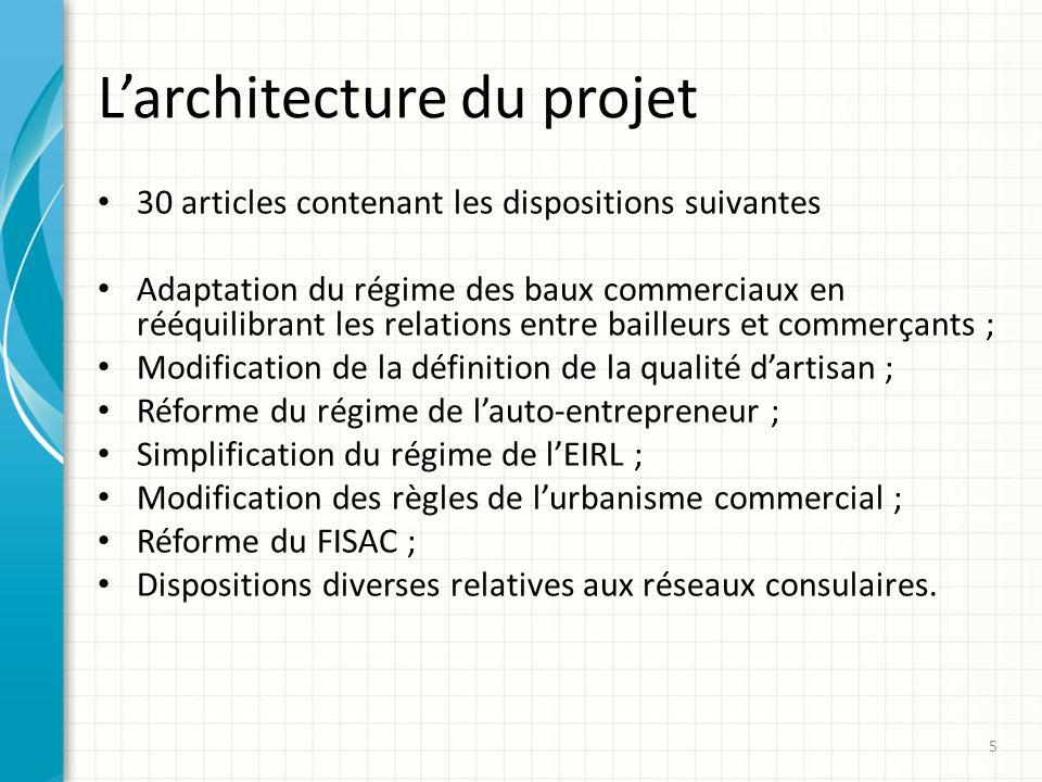 Larchitecture du projet 30 articles contenant les dispositions suivantes Adaptation du régime des baux commerciaux en rééquilibrant les relations entr