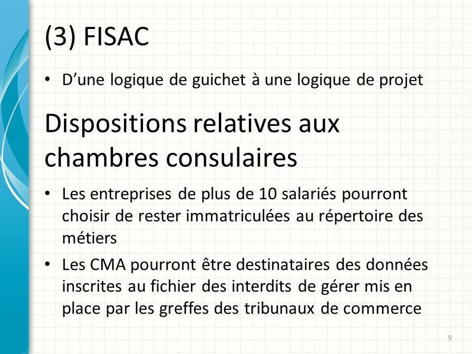 (3) FISAC Dune logique de guichet à une logique de projet 9 Dispositions relatives aux chambres consulaires Les entreprises de plus de 10 salariés pou