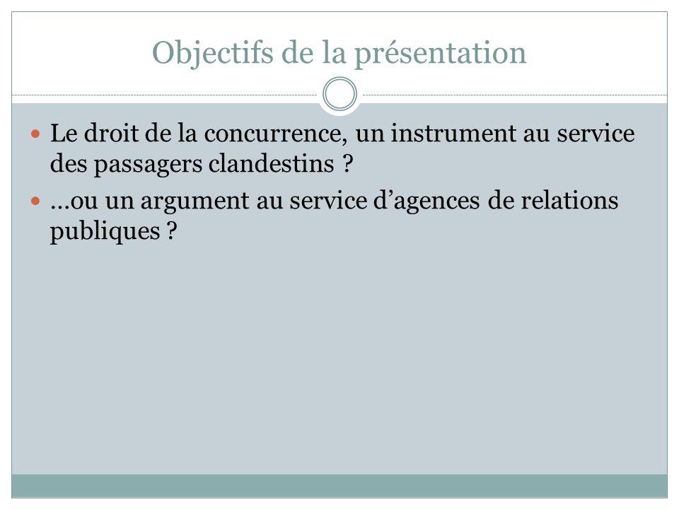 Objectifs de la présentation Le droit de la concurrence, un instrument au service des passagers clandestins .