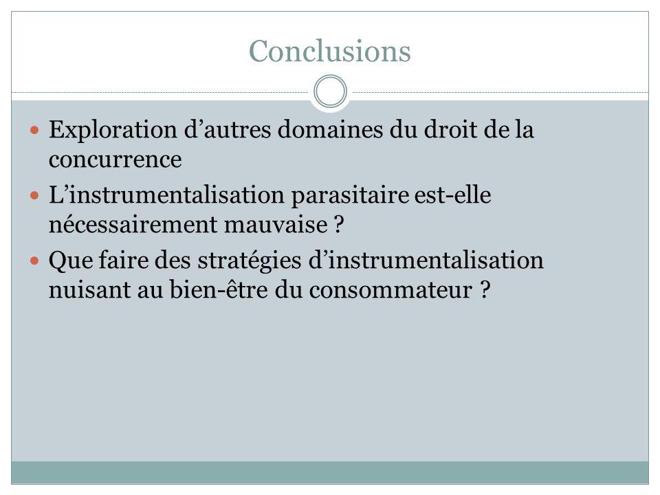 Conclusions Exploration dautres domaines du droit de la concurrence Linstrumentalisation parasitaire est-elle nécessairement mauvaise .